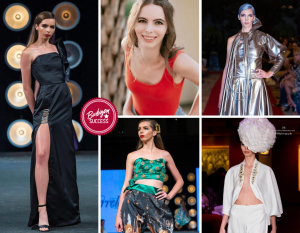 Collage of Arielle Anders in different poses and outfits on the runway as well as one headshot