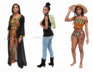 Ashanti in three different outfits and poses for Kamara's Closet