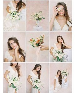 Collage of Sophia modeling in her bridal shoot