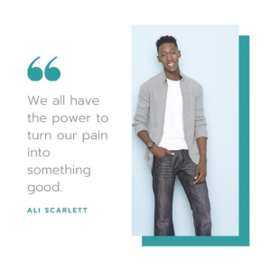 """body shot of Ali next to a quote of his about """"turning pain into something good."""""""