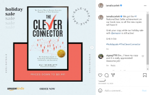 Instagram Post from Ali that showcase's the cover of his book, The Clever Connector