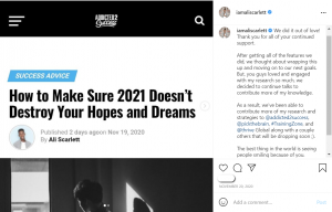 Instagram post from Ali with a screen grab from a published online article her wrote on the topic of Success Advice