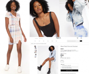 collage of LaDonya Williams modeling in the print campaign for Rue 21