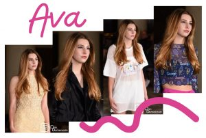 collage of Ava in different modeling poses and outfits