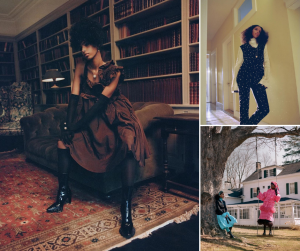 Eileen modeling for Vogue Italia in different fashion outfits and against indoor/outdoor scenerys