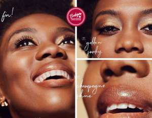 Collage of Pesy Therese with up close shots of her face, eyes, and lips from the makeup ad campaign