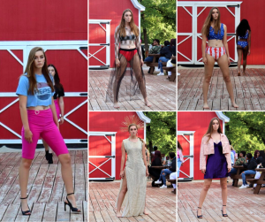 collage of Logan modeling different fashions on the runway at Coastal Fashion Week Dallas