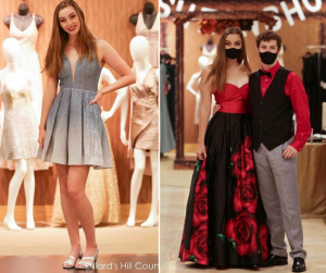 Photos of Logan modeling a cocktail dress and a formal gown at the Dillard's fashion show