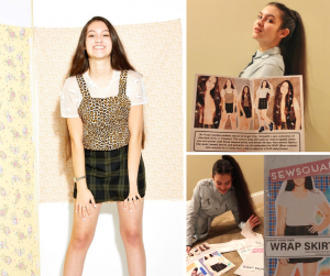 collage of Christina posing, holding up the editorial, and working behind the scenes