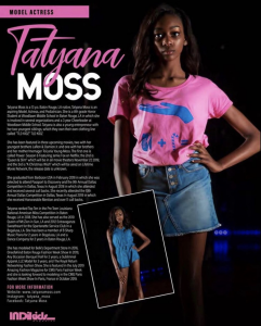 Barbizon Baton Rouge alum Tatyana Moss, owner & designer of TLD Kidz, was, featured editorial in IndiKids Magazine Summer Edition 2019