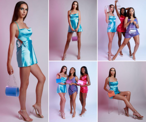 collage of Arielle modeling for the Gia Rose campaign in different modeling poses and with other models wearing metallic dresses and holding the featured purses