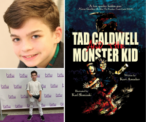 Collage: head shot of Austin, body shot at Fashion Show event, and poster cover for Tad Caldwell and the Monster Kid