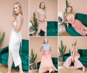 collage of Kysten modeling in different outfits and summer dresses