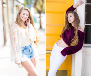 body shots of Stacia here modeling and posing in two different outfits