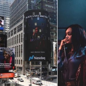 Aerial shot of Times Square showing Josilyn on the Nasdaq billboard next to a close-up of her talking on the phone taken from the billboard