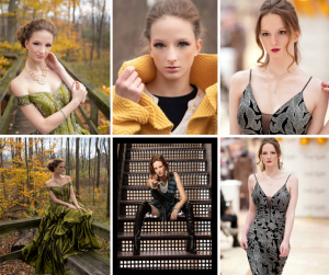 collage of Rebecca modeling for Southern Style Magazine, Lord & Taylor, and Rochester Women's Magazine