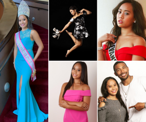 collage of Kaley Luna with her sash titles and in different modeling poses