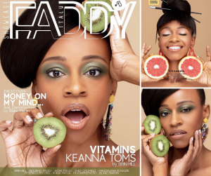 collage of Lakesha Toms from her editorial in FADDY Magazine including the cover page