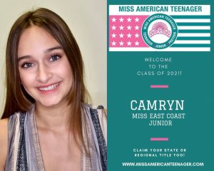 Promotional image of Camryn next to an official Miss American Teenager Announcement of her title