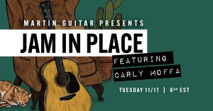 Promotional poster for the Martin Guitar music series with Carly Moffa's name featured