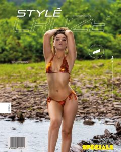 Chey modeling in a brown golden bikini for the back cover of Style Cruz Magazine