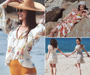Collage of Christina modeling outside at a beach setting wearing different collection pieces
