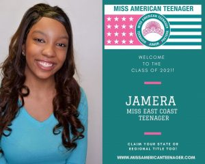 Promotional image of Jamera next to an official Miss American Teenager Announcement of her title
