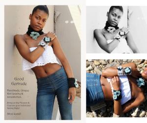 Collage of Jordan modeling jewlrey including a body modeling shot