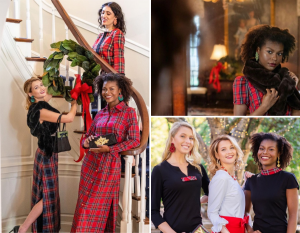 collage of Jordyn modeling in the print holiday campaign