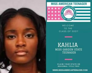 headshot of Kahlia next to a promotional announcement of her title for Miss American Teenager