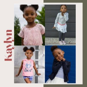 collage of Kaylyn headshots and body shots in different poses and outfits