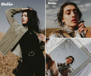 Collage of Lauren modeling in artistic shots for Bello Magazine, body shot, up close shot, and a reflection in the mirror shot