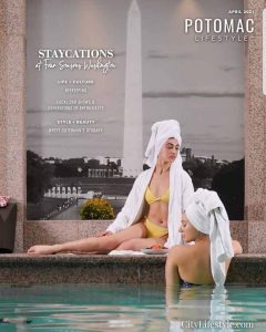cover of City Lifestyle Potomac Magazine with Lauren modeling on the cover on the deck of a pool