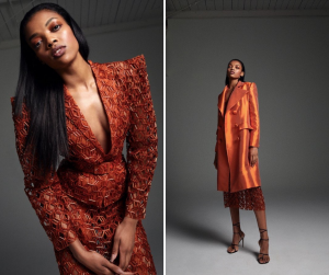 Leah modeling in two different style of a burgundy suit coat for the mentioned retail brand