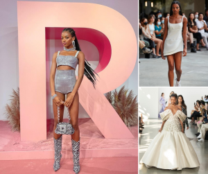 Collage of Leah posing, modeling, and walking on the runway at New York Fashion Week in 3 different fashion designs