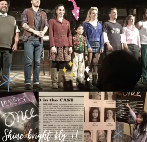 Collage: Lily on stage with the Broadway cast, Lily pointing to her name on a sign, shots of the her name in the paper and the front of the Playhouse program