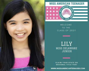 headshot of Lily next to the promotional announcement of her title for Miss American Teenager
