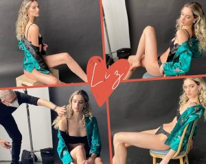 collage of Liz Seibert modeling in the editorial photoshoot in different poses as well as behind the scenes getting assistance on set
