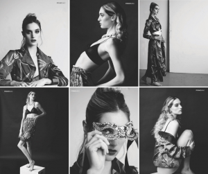 black and white collage of Liz modeling in the Prime Fashion Magazine photo shoot in different modeling poses and outfits