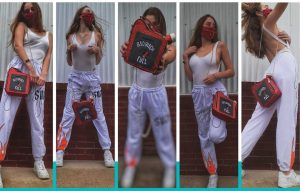 collage of Margaux modeling in different poses with a purse prop for AT Boujees