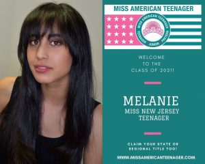 head shot of Melanie next to a graphic from Miss American Teenager Pageant announcing her as Miss New Jersey Teenager