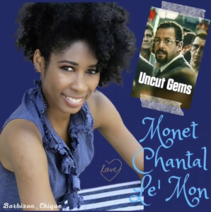 headshot of Monet next to a photo of the Uncut Gems DVD