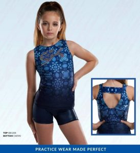 Natalie modeling a leotard from the GK Cheer lookbook