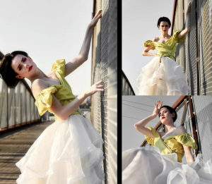 collage of Onxy modeling a yellow and white dress Zipporaa fashion