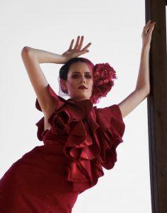 Onxy modeling a red Zipporaa dress fashion