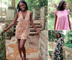 collage of Sarah modeling in different outfits for Mill Street Boutique