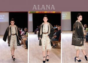 collage of Alana modeling on the runway and posing in the fashion show