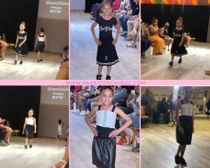 collage of Teagan and Ruari modeling on the runway in different outfits and poses