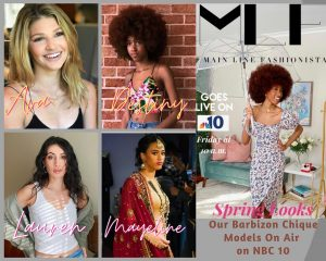 collage of Barbizon Chique grads head shots with a promo photo of Destiny modeling spring fashion for the NBC 10 feature spot