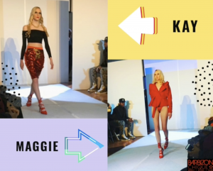 Kay on the runway wearing a red sequened skirt and black top next to an image of Maggie on the runway wearing a red jacket and red heels